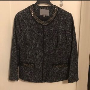 Classiques Entier Tweed Blazer with Beaded Collar
